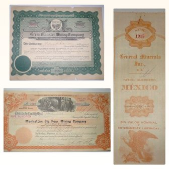 3 Old Mining Stock Certificates General Minerals Inc, Manhattan Big Four and Green Monster Mining Company