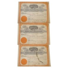 Three Stock Certificates for Southern Coal and Iron Corporation of Virginia