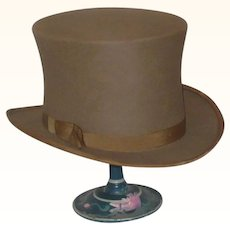 """7 1/8"""" Brown Felt Custom 1880 Top Hat with Rolled Brim and Brown Band"""