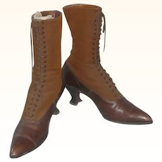 Brown Twill and Leather Victorian Ladies' Boots