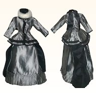 Vintage 3 Piece Fashion Doll Lined Winter Bustle Back Costume