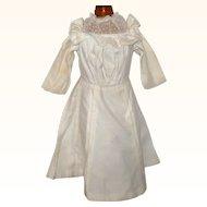 Edwardian Ivory Linen Dress Bloused Top Lace Yoke Pleated Skirt