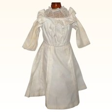 Edwardian Ivory Linen Dress Bloused Top Lace Yoke Pleated Skirt
