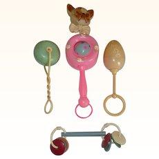 5 Vintage Toy Rattles Celluloid Plastic Bakelite