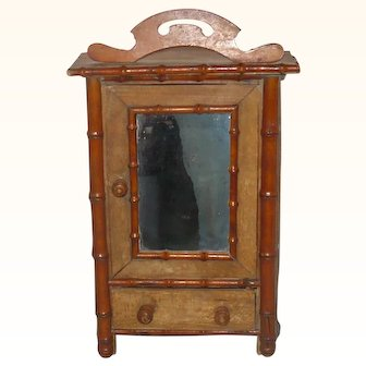 19th Century Faux Bamboo Armoire with Drawer and Mirrored Door for French Fashion