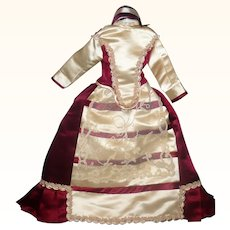 Vintage Wine and Cream Satin Lined 3 Piece Costume for French Fashion