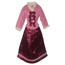 Vintage Hand Stitched Lined 2 Piece Wine and Pink Fashion Costume