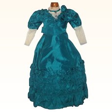 Vintage Emerald Green Taffeta Gown with Petticoat for Large Lady Doll Back Interest Ruching