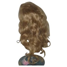Old Hand Tied Golden Brown 13 Inch Wig 0n Net Cap