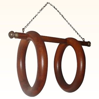 Authentic Victorian Double Wood Chain Hung Towel Rings