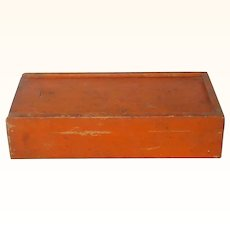 Old Pine Slide Top Box Original Pumpkin Paint