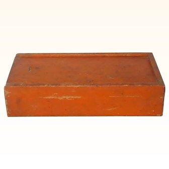 Old Pine Slide Top Box Original Pumpkin Paint