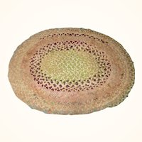 Old 13 Inch Oval  Braided Table Mat Green Beige Brown