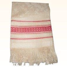 Unused Ivory Damask Towel with Turkey Red Bands and 3 Inch Fringe Each End