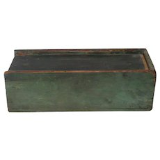 11.75 Inch Dovetailed 19th Century Slide Top NJ Candle Box Old Spruce Paint