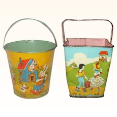 Two 1930's Colorful Lithographed Chein Sand Pails Peter Rabbit Family Nursery Rhymes