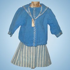 19th Century Hand Stitched Bright Blue Wool  Sailor Blouse Blue Striped Linen Skirt
