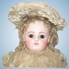 21 Inch 1880's Block Letter F.8 G. Pale Bisque Brown Eyes Tongue Tip