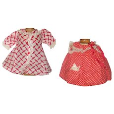 2 Red and White 1930's Dresses for Black Chase or Patsy Dolls