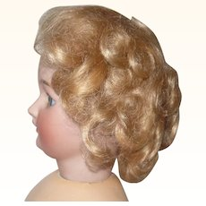 Old Size 6 Golden Blond Mohair Wig on Sturdy Net Cap Small Doll