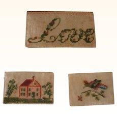 3 Tiny 19th Century Cross Stitch Paper Samplers Cumberland County NJ