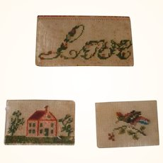 3 Tiny 19th Century Cross Stitch Paper Samplers Cumberland County NJ