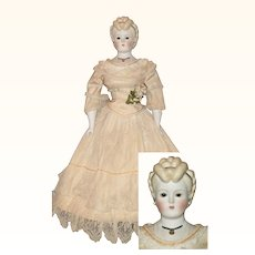 1946 Signed Emma Clear Fancy Parian Molded Bodice Necklace Glass Eyes Earring Hair Bands
