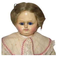 19 Inch 1880's Wax Over Braided Wig Sleep Eyes Cloth Body Mends Early Clothes