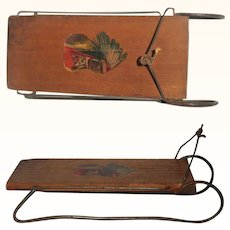 Tiny 1906  Wood and Iron Toy or Salesman's Sample Sled with Indian Cheif Head