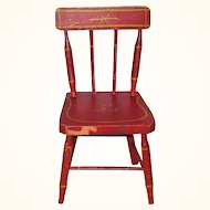 Old 12 Inch Rod Back Doll Chair Original Red Paint with Yellow Striping