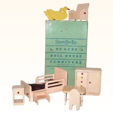 8 Piece 1 Inch Scale Strom Becker 1930's Painted Wood Nursery Set Pink Furniture Yellow Shoo Fly