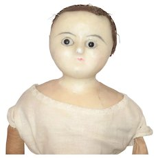 20 Inch 1830 English Wax Black Eyes Frail Blue Kid Arms Linen Body For Restoration or Study