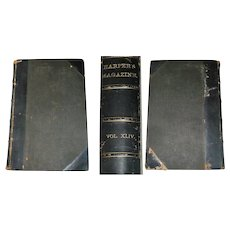 Harper's Magazine Volume XLIV Dec 1871-May 1872 Hard Bound Leather Spine Corners