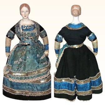Scarce 14 Inch 1840 Meissen China Tan Bun Hairdo Kid Body Fragile Beaded Silk Folkloric Gown