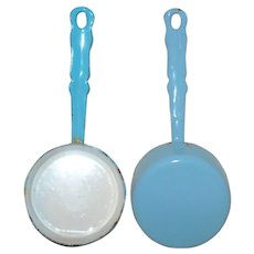5.75 Inch Miniature Long Handle Blue Graniteware Sauce Pan