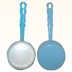 5.75 Inch Miniature Long Handle Blue Graniteware Sauce Pan