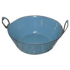 "4"" Miniature Blue Graniteware Wash Tub"