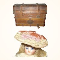 Antique Dome Top Leather Trunk Form French Candy Box with 12 Antique Mignonette Hats