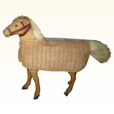 Old German 6 Inch Cream Color Pony Glass Eyes Harness Stable Blanket