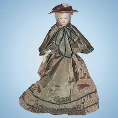 """Vintage Hand Stitched 3 Piece Olive Tone French Fashion Costume for 18""""-20"""" Doll"""