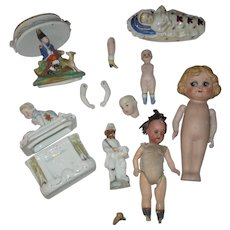 Bisque and China Doll and Trinket Box Parts