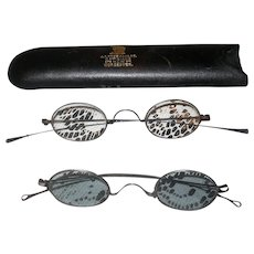 2 Pair of 1850's Spectacles One with Tinted Lenses 1 in A.C.Freeman & Co Worcester Case