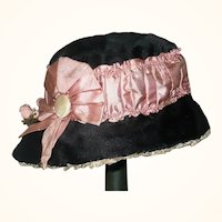 Black and Pink Silk Wired Edwardian Fedora Doll Hat