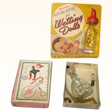 Tiny Japan Made Nursing Set in Box and  US Sun Rubber Nursing Bottle  on Original Litho Card