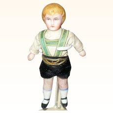 3.5 Inch Molded Blond Hair Wire Jointed All Bisque Boy Original Costume