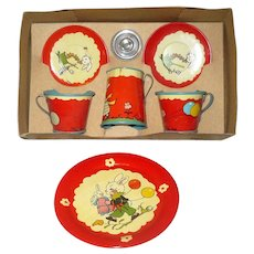 Boxed 1940's Ohio Art 7 Piece Children's Tea Set Fern Bissell Peat Bunny Design