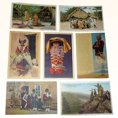 7 Post Cards Showing Native Americans 6 Have 1930's Post Marks 1 Cent Stamps