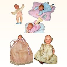 4 Vintage German Doll House Baby Dolls and 1 from Japan with  Original Clothes