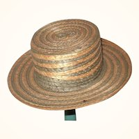 Old Salesman's Sample Green and Natural Woven Straw Boater Hat F J Valentin Italy