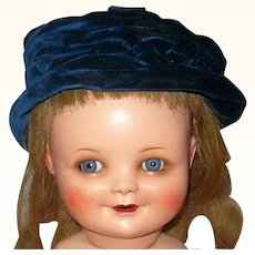 Lined and Wired Edwardian Blue Velvet Togue Doll Hat